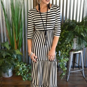 Black Striped Tiered Ruffle Dress
