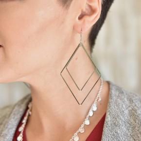 Silver Diamond Shape Earrings