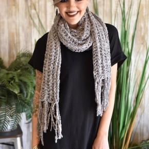 Grey Knit Fringe Scarf