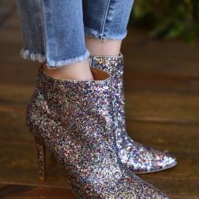 Silver Glitter Booties