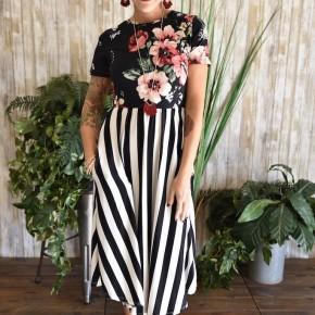 Floral & Stripes Swing Dress