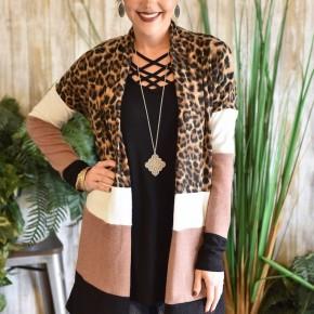 Leopard Colorblock Cardigan