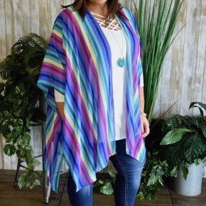 CLEARANCE Blue Vertical Striped Cardigan