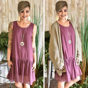 Red Brown Woven Tank Dress