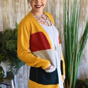 CLEARANCE Mustard Colorblock Cardigan