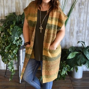 CLEARANCE Mustard & Olive Boho Knit Cardigan