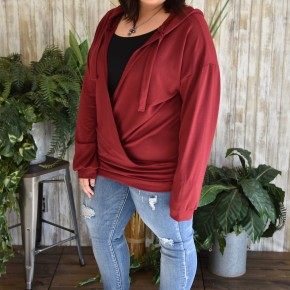 CLEARANCE Burgundy French Terry Wrap Top