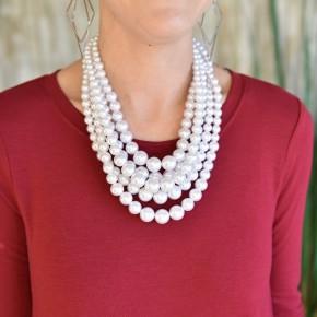White 5 Strand Necklace