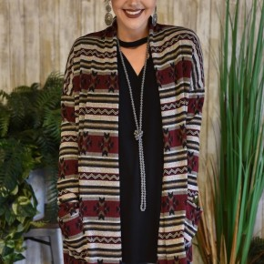 CLEARANCE Burgundy Aztec Cardigan