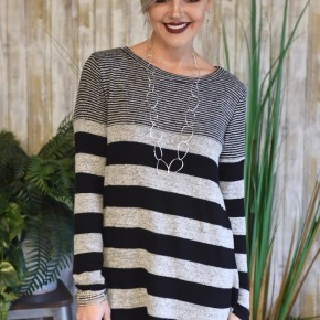 Black Striped L/S Top