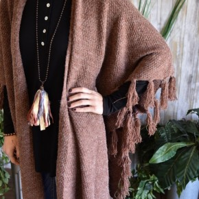 Red Bean Fringed Poncho