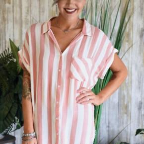 CLEARANCE Carrot Striped Collard Shirt