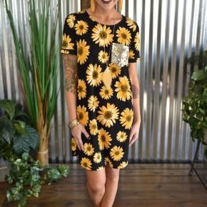 Sunflower Dreaming T-Shirt Dress