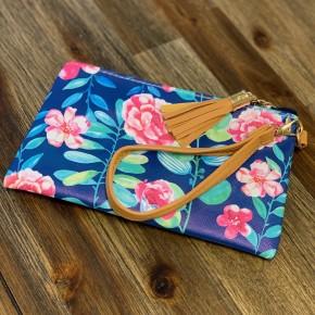 Navy Floral Zipper Clutch