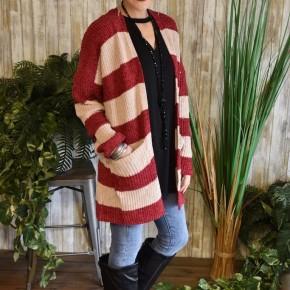 CLEARANCE Burgundy Striped Chunky Knit Cardigan