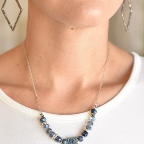 Blue Mixed Glass Short Necklace