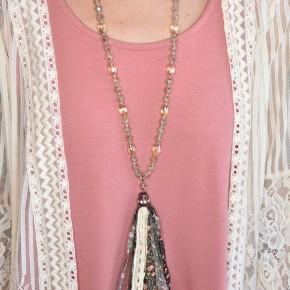 Autumn Flower Fabric Tassel Necklace