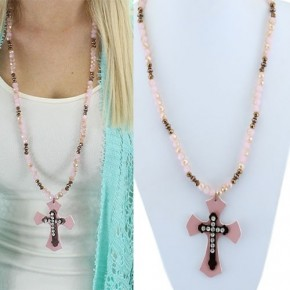 Crystal Leather Cross Necklace