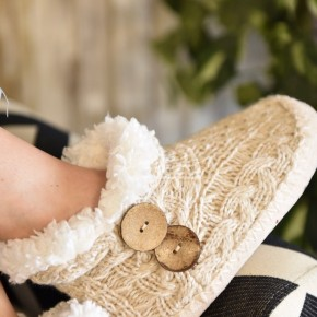 Taupe Button Knitted Slippers