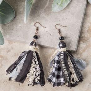 Gorgeous Gingham Tassel Earrings