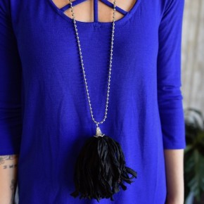 Silver Black Tassel Necklace