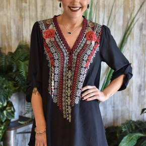 Black Embroidery Tunic Top
