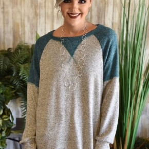 CLEARANCE Grey & Green Oversize Knit Sweater
