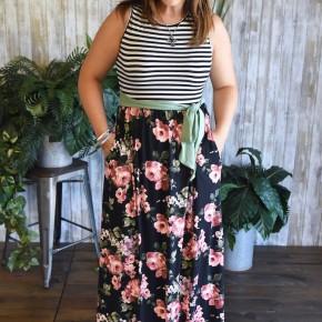 Black Floral Belted Maxi Dress