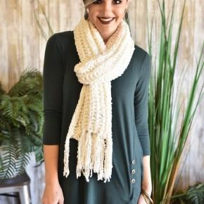 Ivory Knit Fringe Scarf