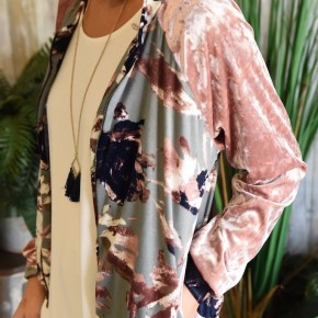 CLEARANCE Grey & Pink Velvet Bomber Jacket