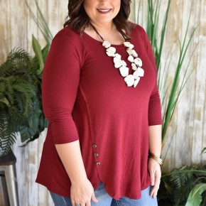 Cabernet 3/4 Sleeve Side Button Top