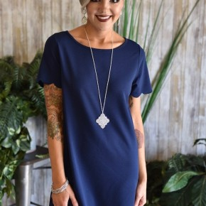 CLEARANCE Navy Scalloped Dress