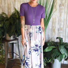 Lilac Floral Midi Dress