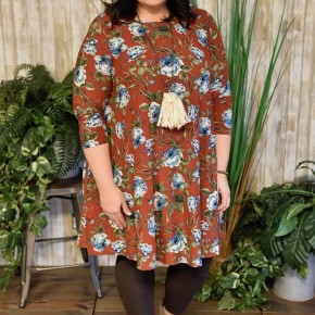 Rust Floral Swing Dress