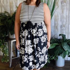Floral Stripe Babydoll Dress
