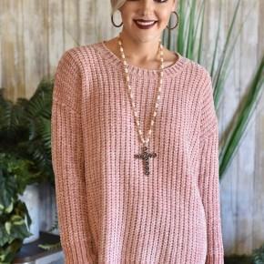 Mauve Scalloped Chenille Sweater