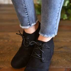 Black Laced Up Booties