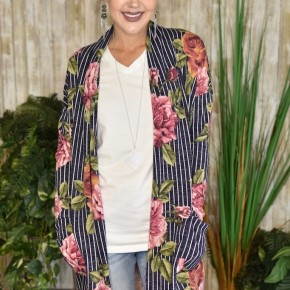 CLEARANCE Navy Striped Floral Cardigan