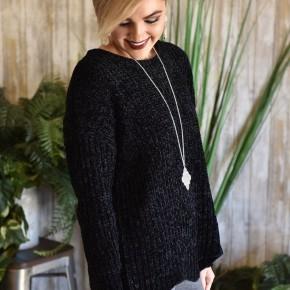 Black Scalloped Chenille Sweater