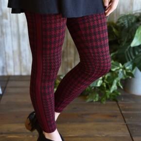 Burgundy Plaid Leggings