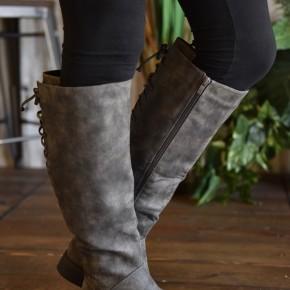 Grey Distressed Ventura Tall Boots