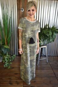 CLEARANCE Camo S/S Knit Maxi Dress