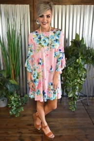 Dusty Pink Floral Bell Sleeve Dress
