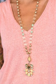 Mint & Gold Beaded Pendant Necklace