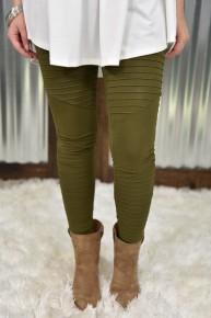 Olive Moto Leggings