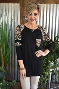 CLEARANCE Black Sequin Pocket Leopard Raglan