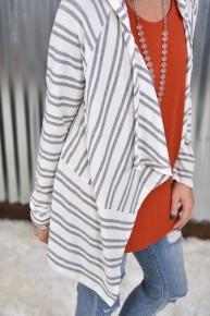 Heather Grey Striped Knit Cardigan