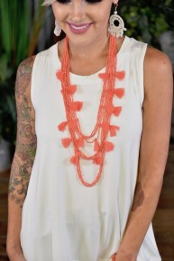 Coral Two Tickets to Paradise Beaded Tassel Necklace