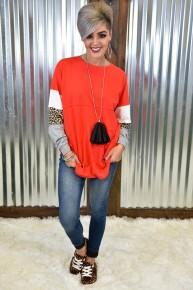 Red Leopard Spirit Sleeve Top