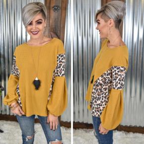 Cheetah & Mustard Contrast Top